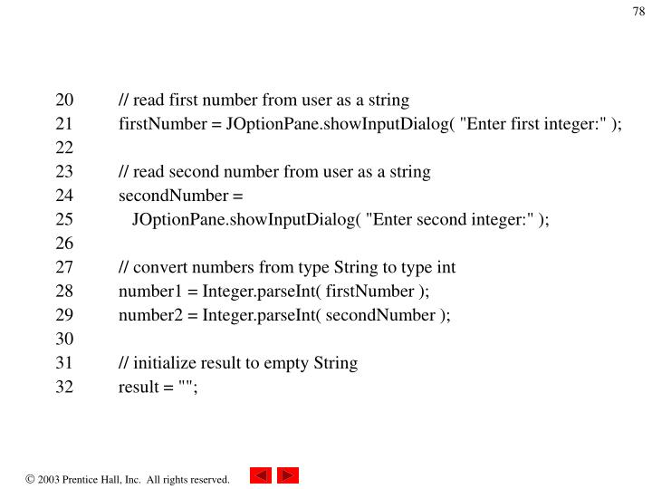 20          // read first number from user as a string