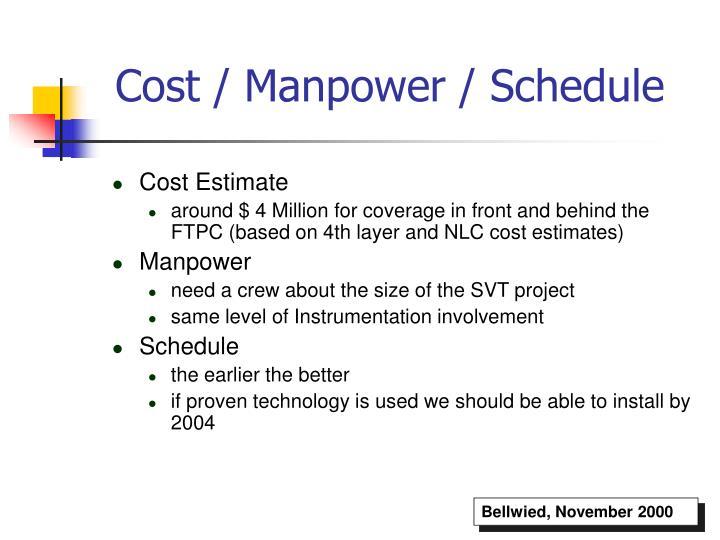 Cost / Manpower / Schedule