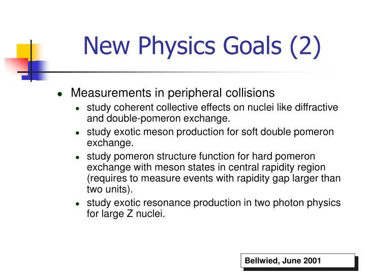 New Physics Goals (2)