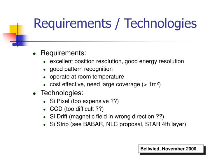 Requirements / Technologies
