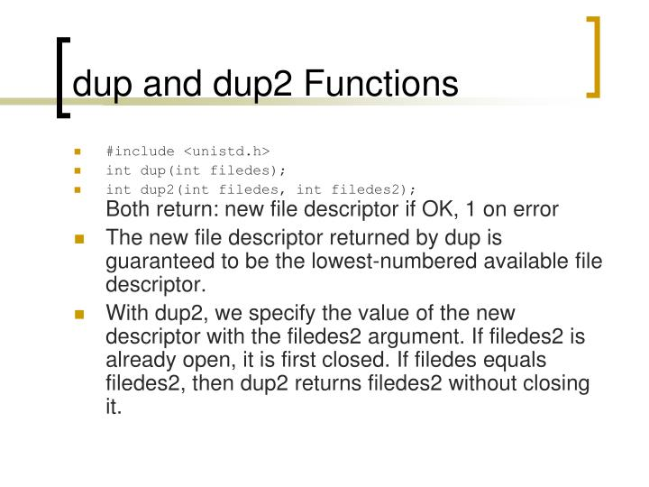 dup and dup2 Functions