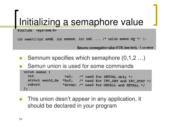 Initializing a semaphore value