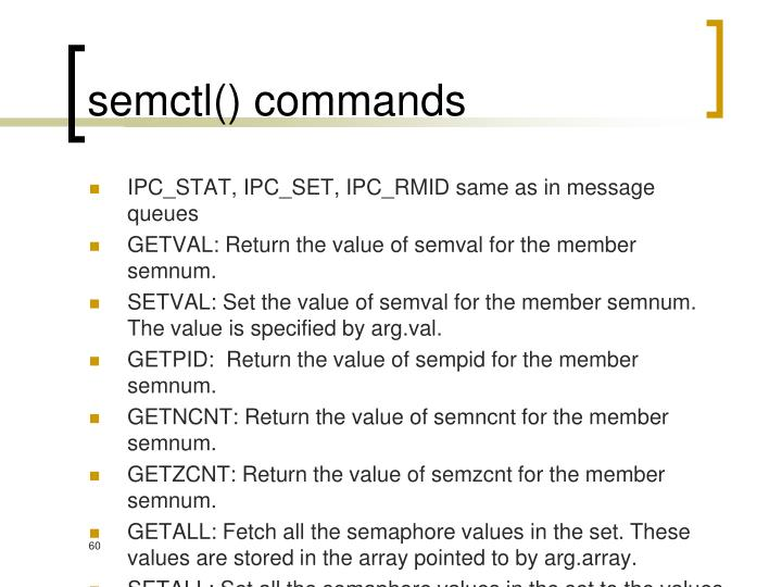 semctl() commands