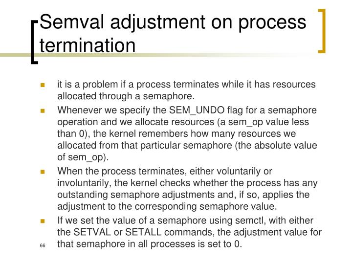Semval adjustment on process termination