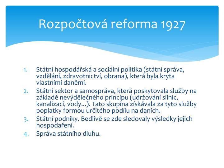 Rozpočtová reforma 1927
