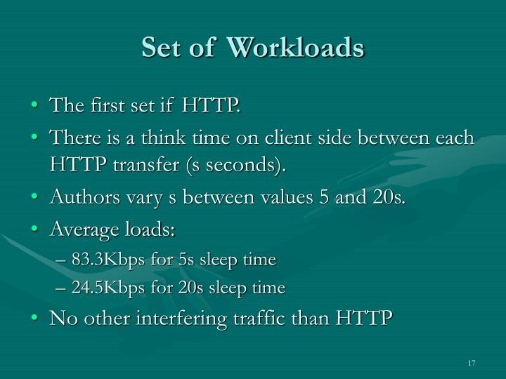 Set of Workloads