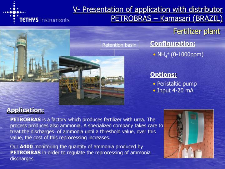 V- Presentation of application with distributor
