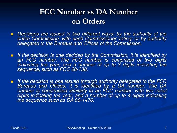 FCC Number vs DA Number