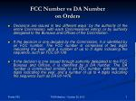 fcc number vs da number on orders