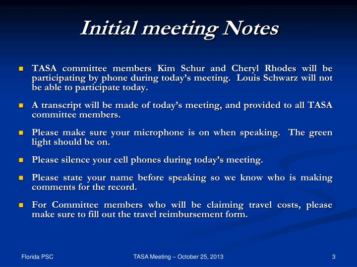 Initial meeting Notes