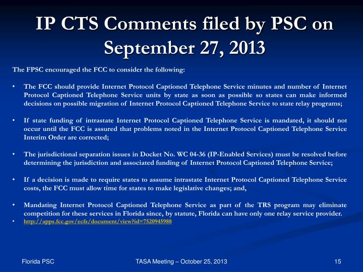 IP CTS Comments filed by PSC on September 27, 2013