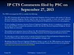 ip cts comments filed by psc on september 27 2013