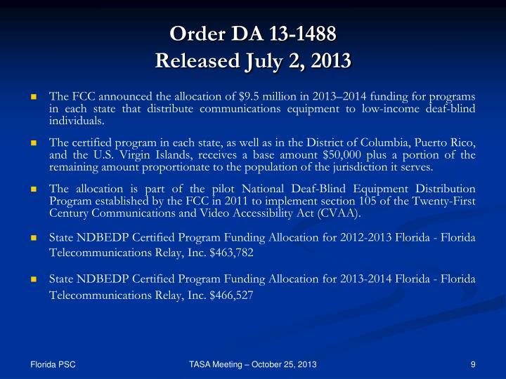 Order DA 13-1488
