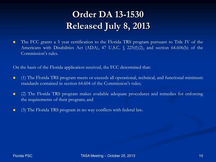 Order DA 13-1530