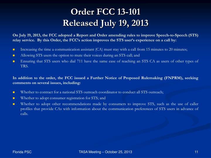 Order FCC 13-101