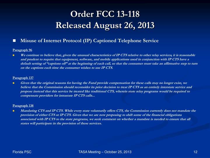 Order FCC 13-118