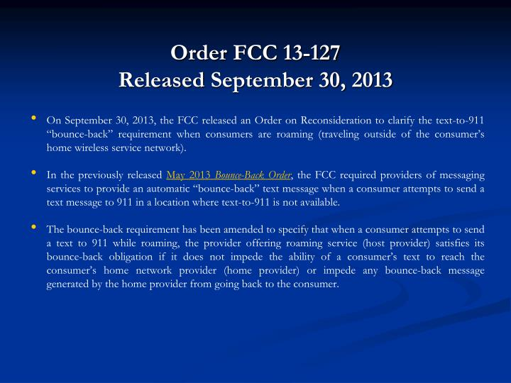 Order FCC