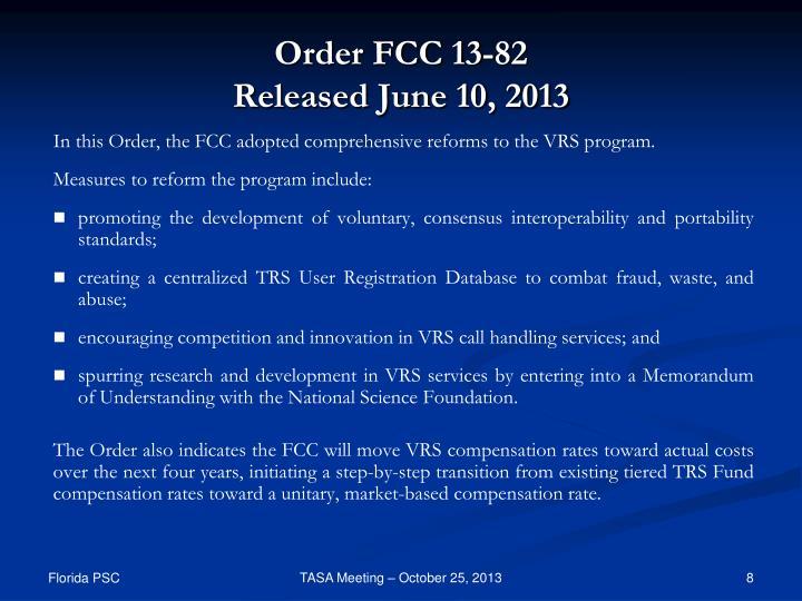 Order FCC 13-82
