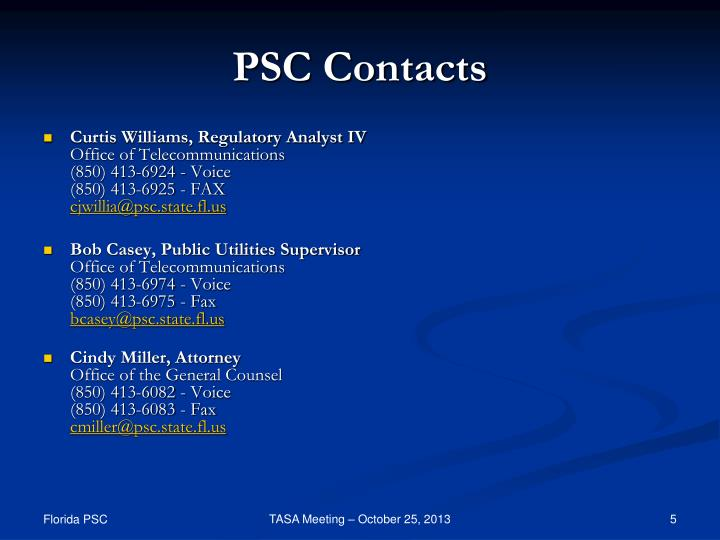 PSC Contacts