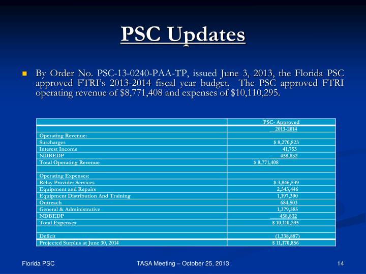 PSC Updates