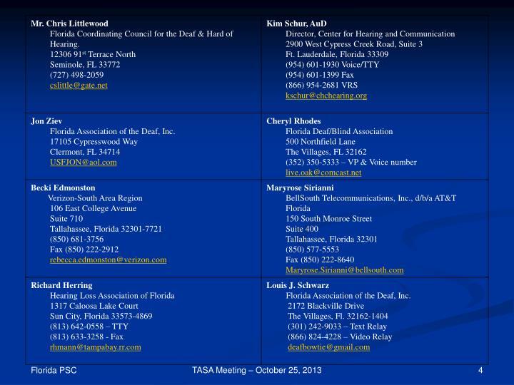 TASA Meeting – October 25, 2013
