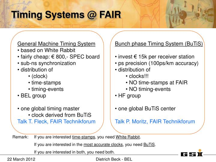 Timing Systems @ FAIR