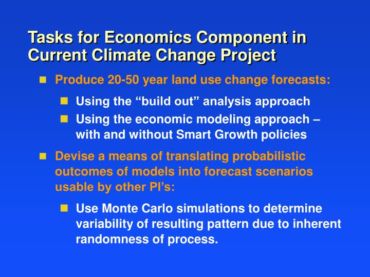 Tasks for Economics Component in Current Climate Change Project