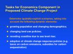 tasks for economics component in proposed climate change project