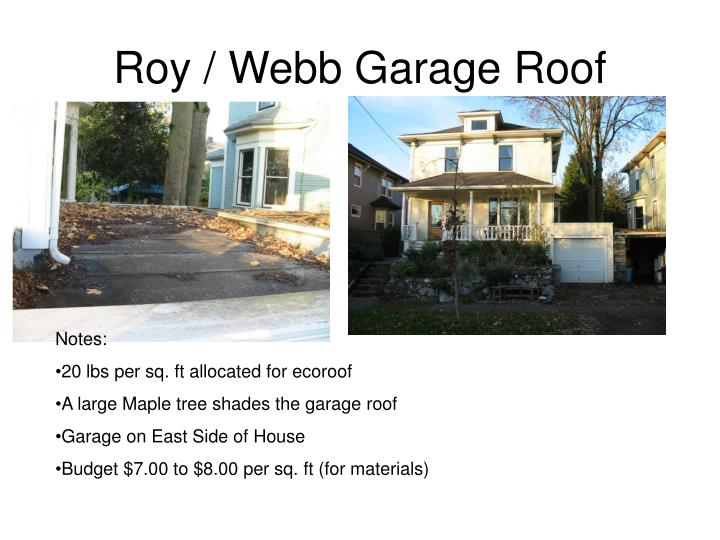 Roy / Webb Garage Roof