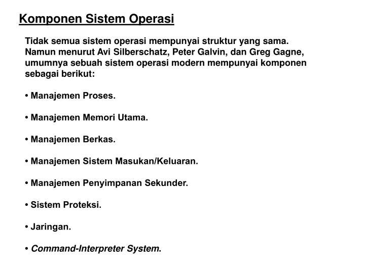 Komponen Sistem Operasi