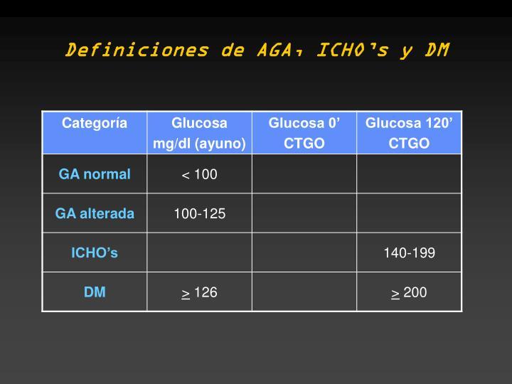 Definiciones de AGA, ICHO's y DM