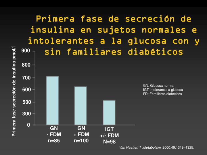 Primera fase de secreción de insulina en sujetos normales e intolerantes a la glucosa con y sin familiares diabéticos