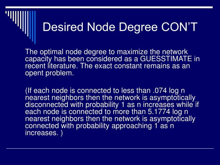Desired Node Degree CON'T