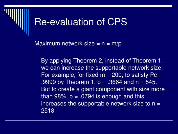 Re-evaluation of CPS