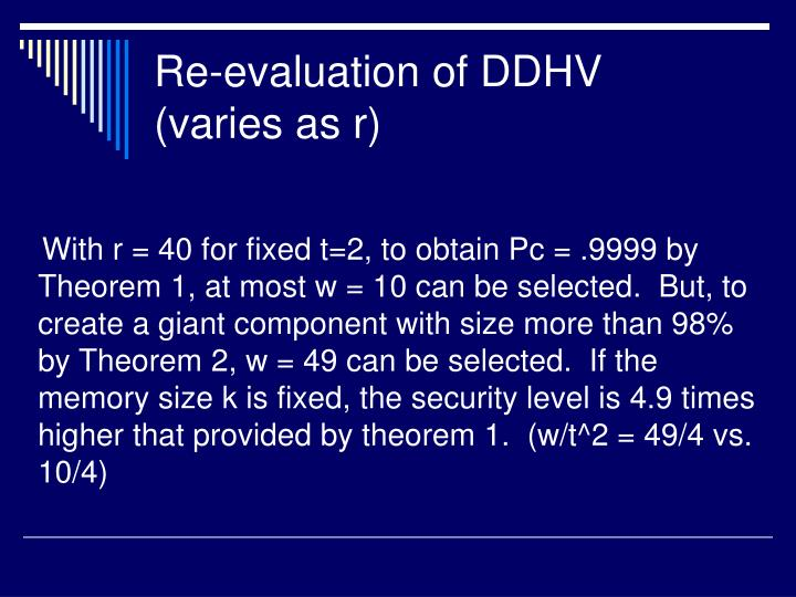 Re-evaluation of DDHV