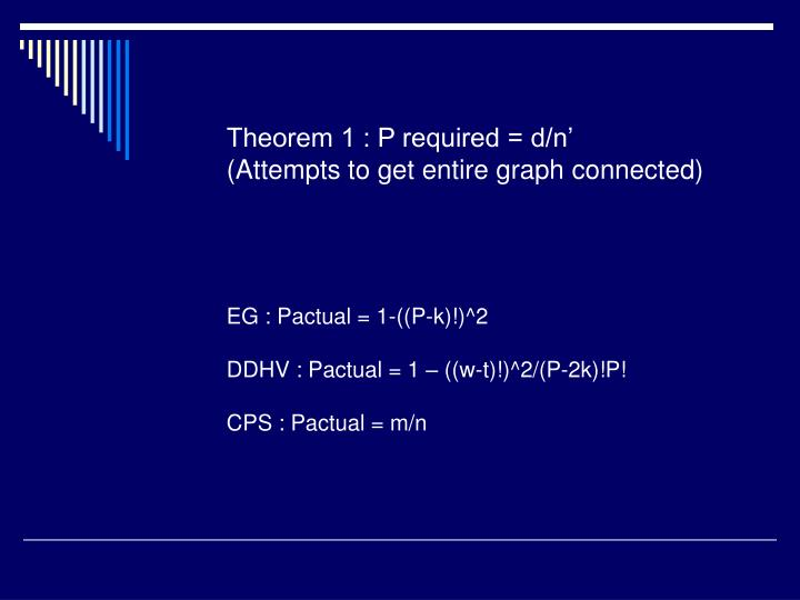 Theorem 1 : P required = d/n'