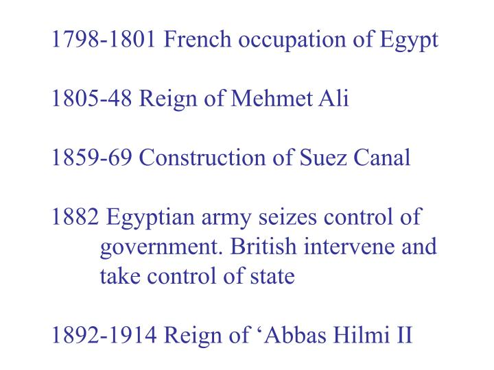 1798-1801 French occupation of Egypt