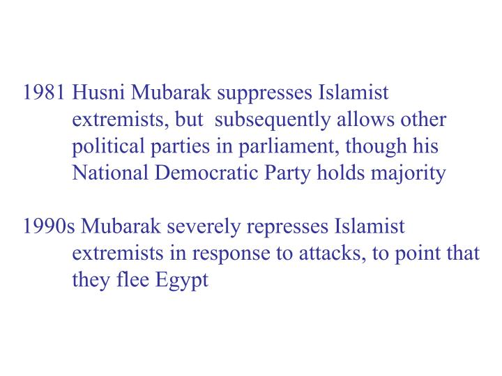 1981 Husni Mubarak suppresses Islamist