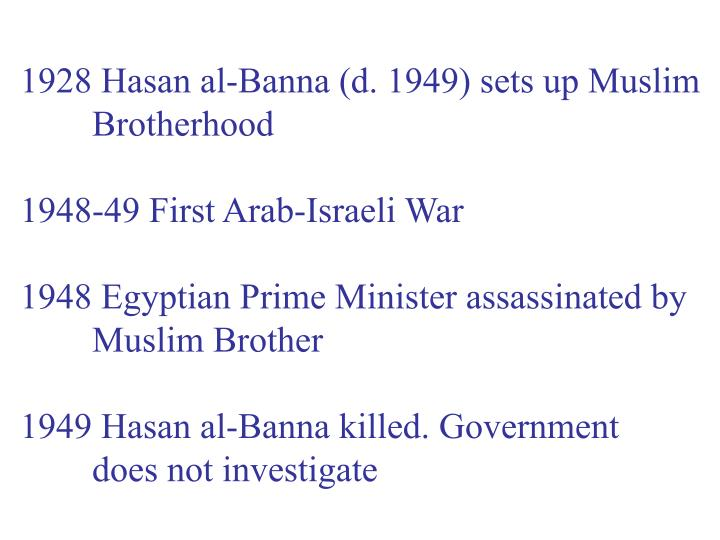 1928 Hasan al-Banna (d. 1949) sets up Muslim
