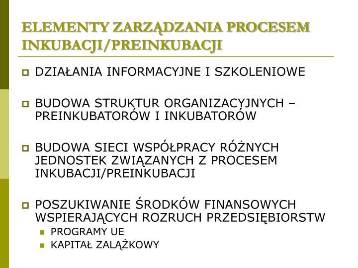 ELEMENTY ZARZĄDZANIA PROCESEM INKUBACJI/PREINKUBACJI