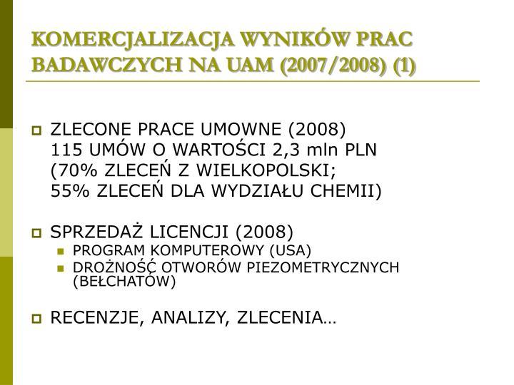 KOMERCJALIZACJA WYNIKÓW PRAC BADAWCZYCH NA UAM (2007/2008) (1)