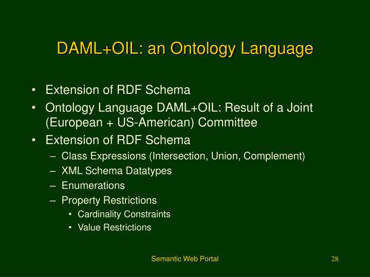 DAML+OIL: an Ontology Language
