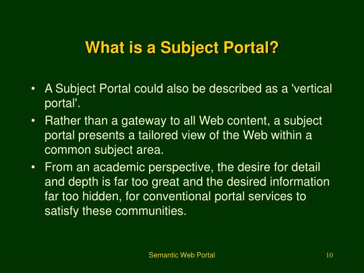 What is a Subject Portal?