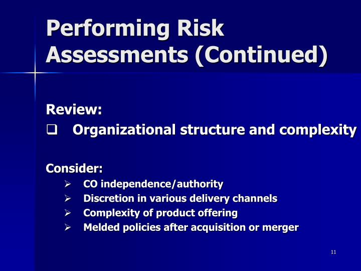 Performing Risk Assessments (Continued)