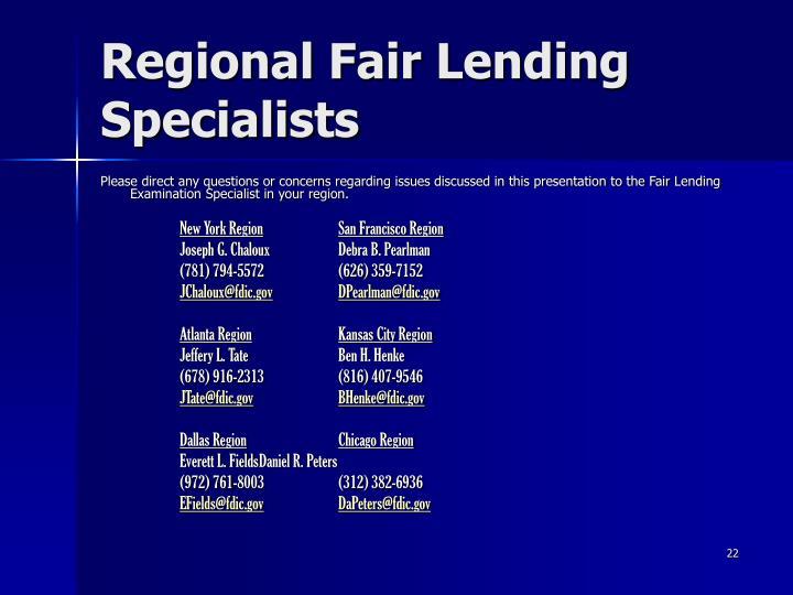 Regional Fair Lending Specialists
