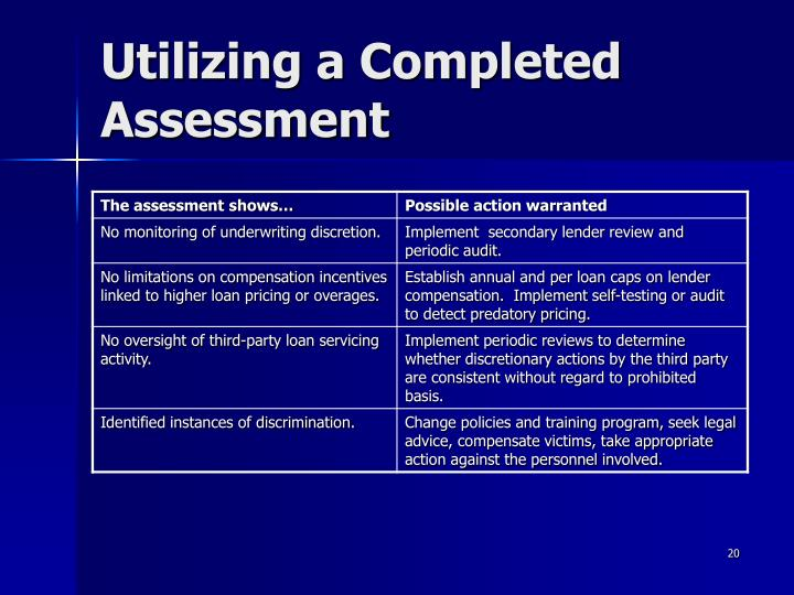 Utilizing a Completed Assessment
