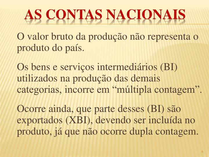 O valor bruto da produção não representa o produto do país.