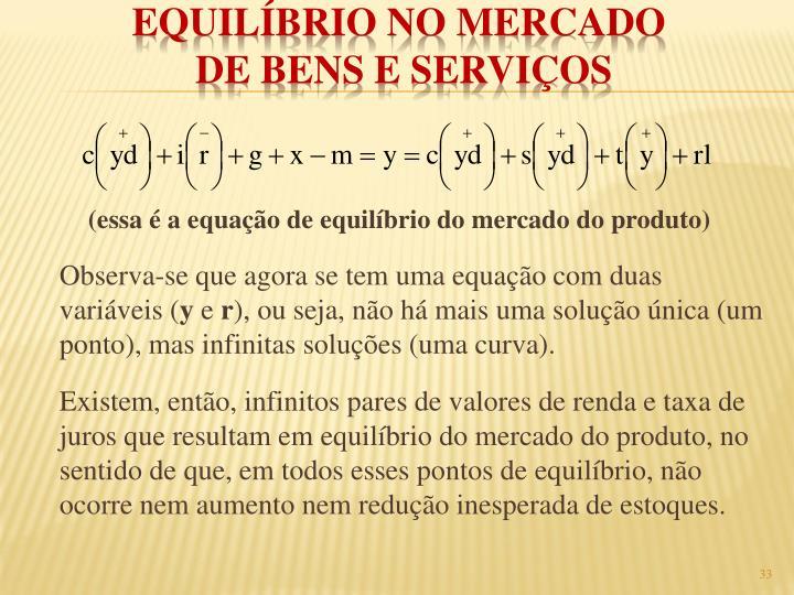 (essa é a equação de equilíbrio do mercado do produto)