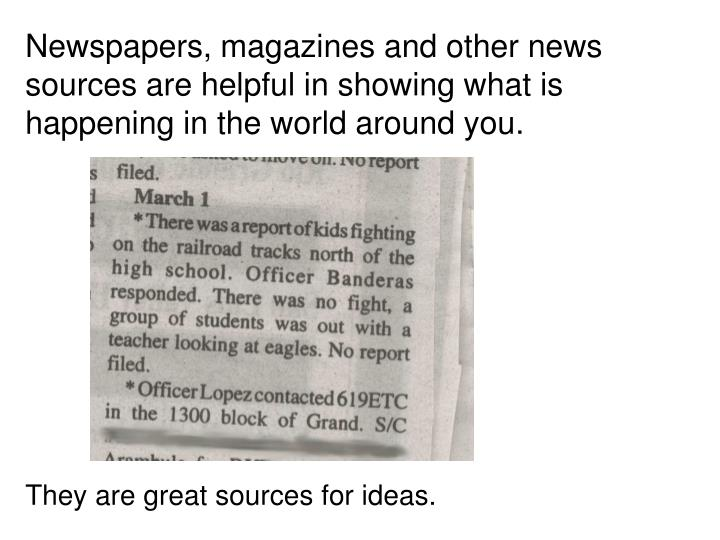 Newspapers, magazines and other news