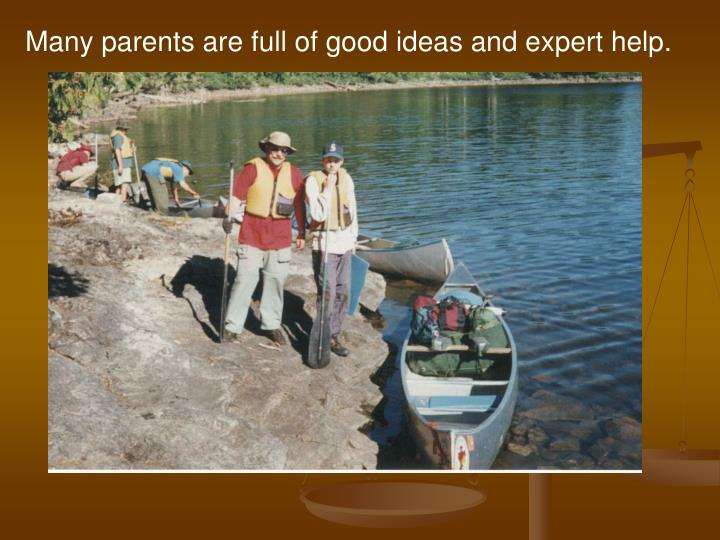 Many parents are full of good ideas and expert help.